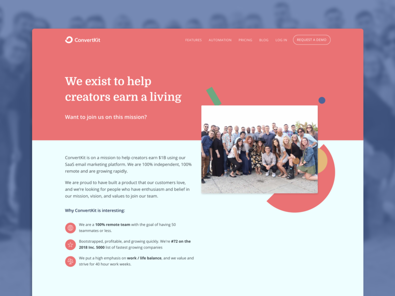 ConvertKit Careers about us page careers page jobs page company mission jobs careers