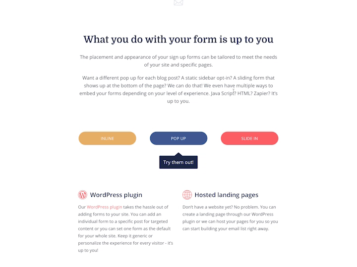 Forms demo - Features page by Charli Prangley for ConvertKit on Dribbble