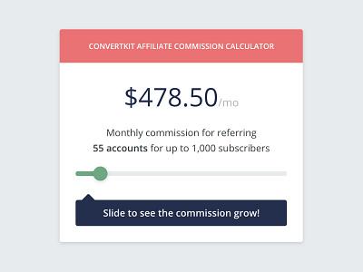 Affiliate Commission Calculator marketing design interactive element slider calculator