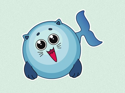 🐳 Catwhale whale cat illustration character stickers sticker