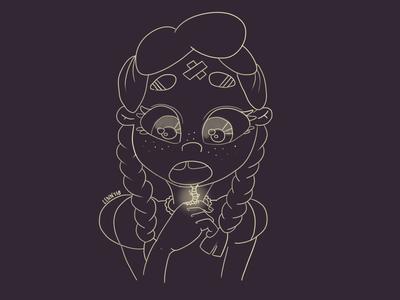 Lucy and the magic caterpillar light magic caterpillar graphics girl character illustration