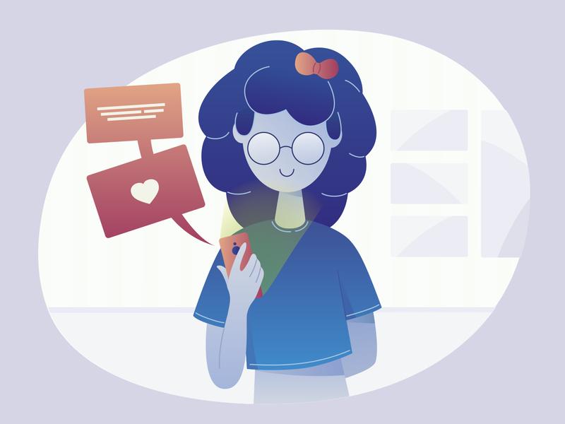Teen girl with smartphone message smartphone girl flat character illustration