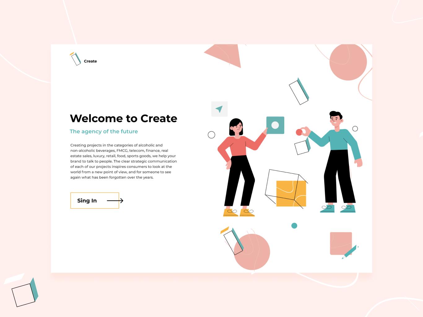 Landing page for design agency ui illustraion websites web landing page landing
