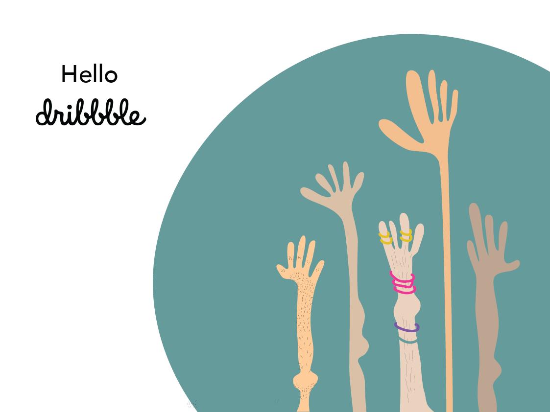 Hello Dribble! vector design illustration
