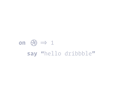 Hello Dribbble! code clean hello world hello hello dribbble