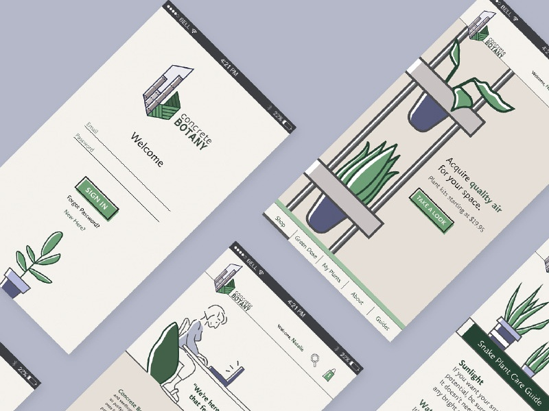Concrete Botany Mobile App UI illustration design graphic design user interface ui