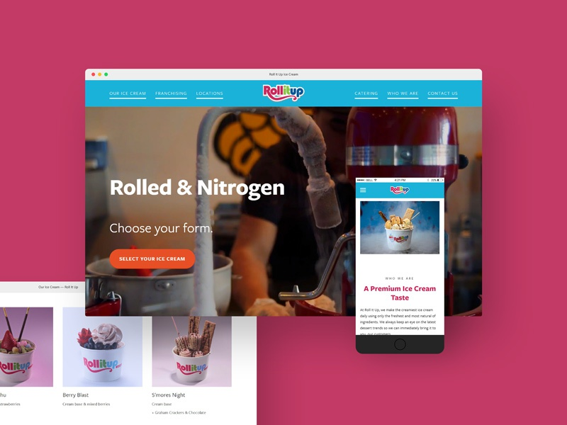 Roll It Up Ice Cream: Website Redesign visual design ice cream confections user interface ui website web web design