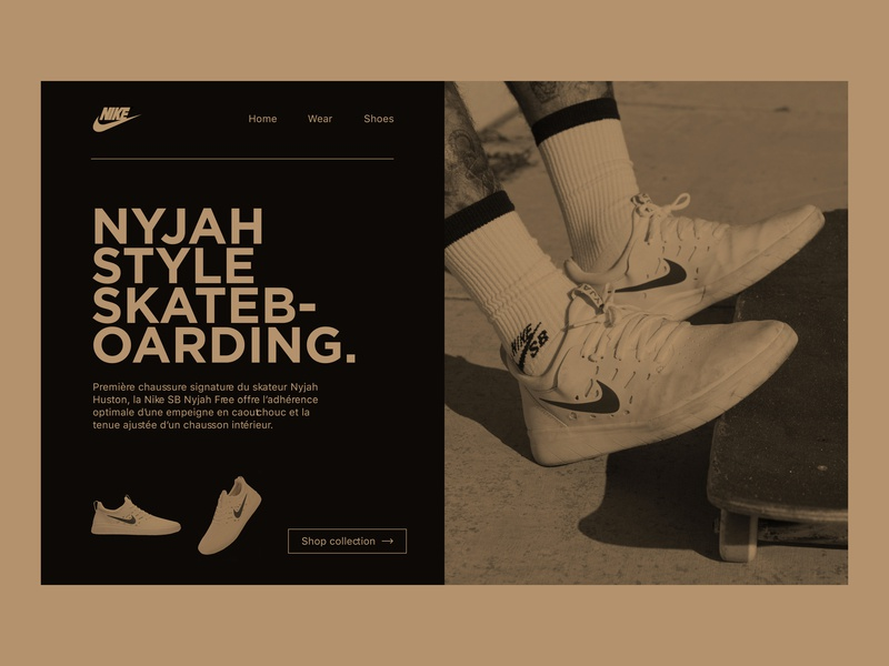 Nikeshop 👟| Concept shoes streetwear nike sport redesign photography concept typography branding website webpage webdesign web ux ui simple photoshop minimalist minimal design