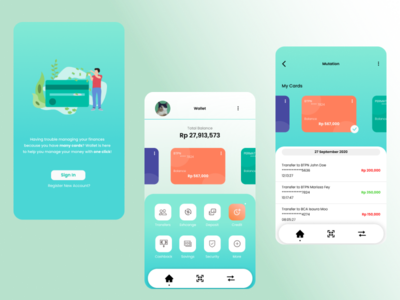 My Wallet ideas green banking app money bank flat design credit finance ui mobile