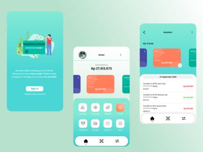 My Wallet ideas green banking app money bank flat design credit finance ui mobile