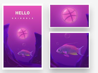 Hello Dribbble~ design illustration