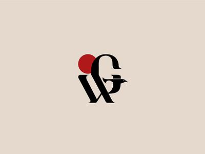 G.W. + Bird Logo Mark (Unused) luxury affinity acronym minimal smart clever abtract serif logos logotype initials bird