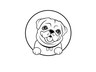 pug dogs logo design template