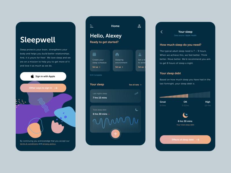 Sleep Enhancement App meditation sleep android ios minimal ui clean app