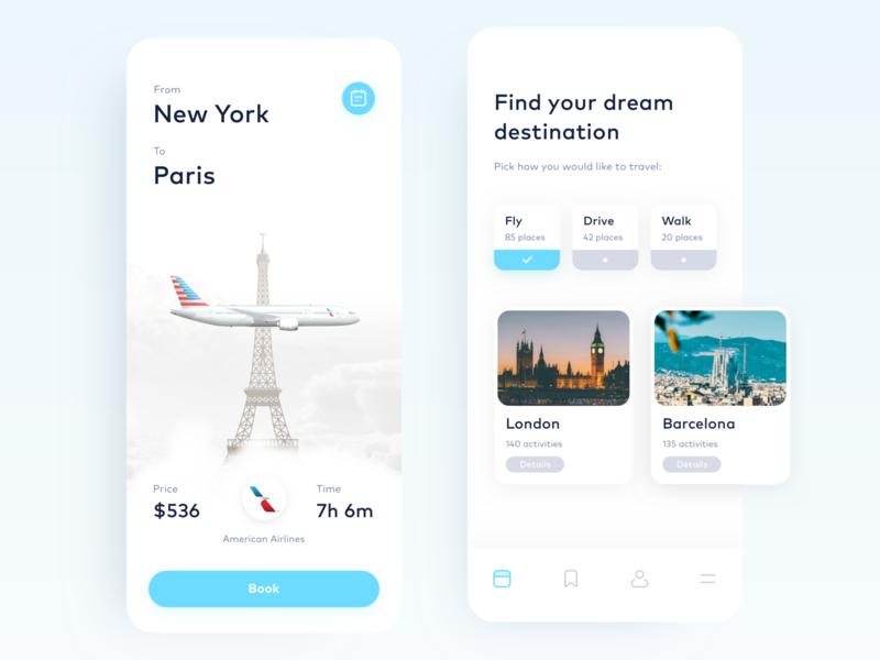 Travel App paris travel booking aircraft minimal interface android iphone ios ui clean app