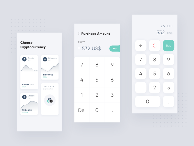 Cryptocurrency Calculator minimal calculator crypto flat interface android ios ui clean app