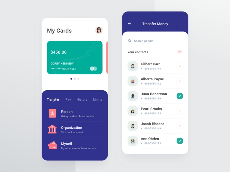 Bank App contacts card bank flat android iphone minimal ios ui clean app