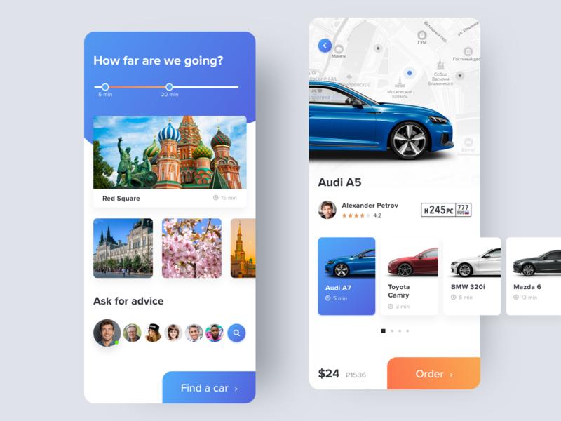 Tourist Taxi App travel tourist taxi design iphone clean minimal android ios ui app