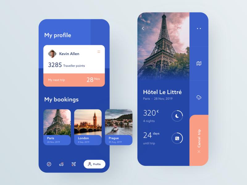 Travel App paris traveling interface design travel ux ui clean android iphone minimal app
