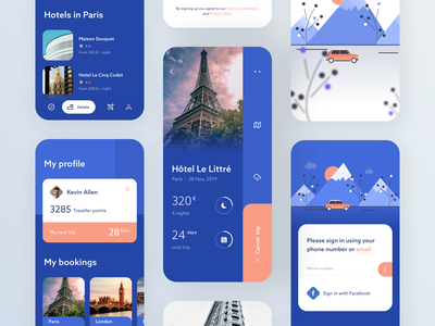 Travel App #3 blue design booking hotel travel interface ui clean minimal android ios app