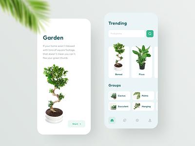 Home Garden App light green garden plant nature design interface android ios ui clean app