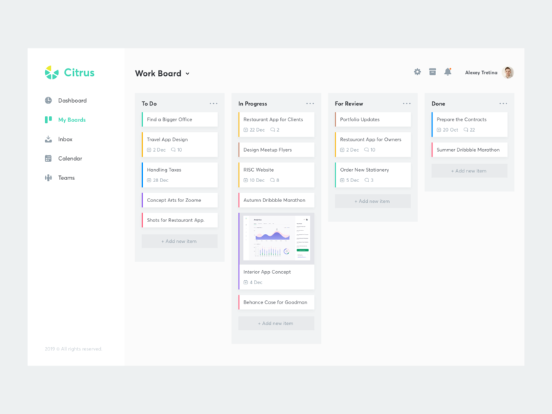 Productivity Platform light cards minimal ui clean task app productivity