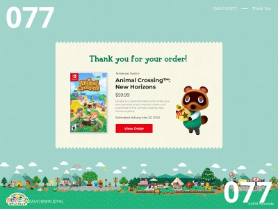 Daily UI 077 - Thank You switch nintendo animal crossing thank you order confirmation order uidesign daily ui dailyuichallenge dailyui daily ui 077