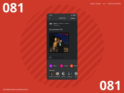 Daily UI 081 - Status Update status update create post rosalia illustrator ui design daily 100 challenge dailyui 001 daily ui dailyui daily ui 081