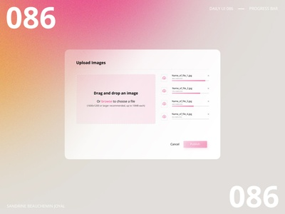 Daily UI 086 - Progress Bar daily ui challenge daily ui 100 daily ui 086 popup progress bar loading bar upload pink vector design daily ui ui