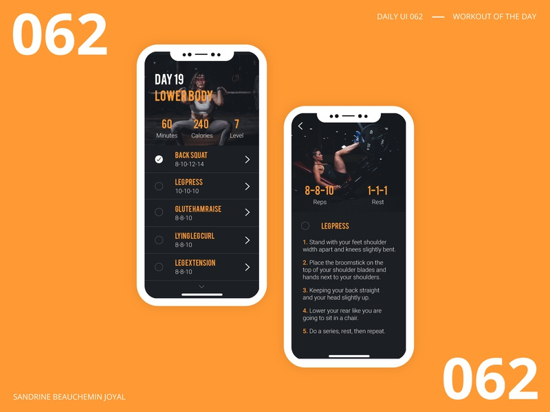 Daily UI 062 - Workout of the Day app ux vector design daily 100 challenge workoutoftheday workout dailyui ui daily ui daily ui 062