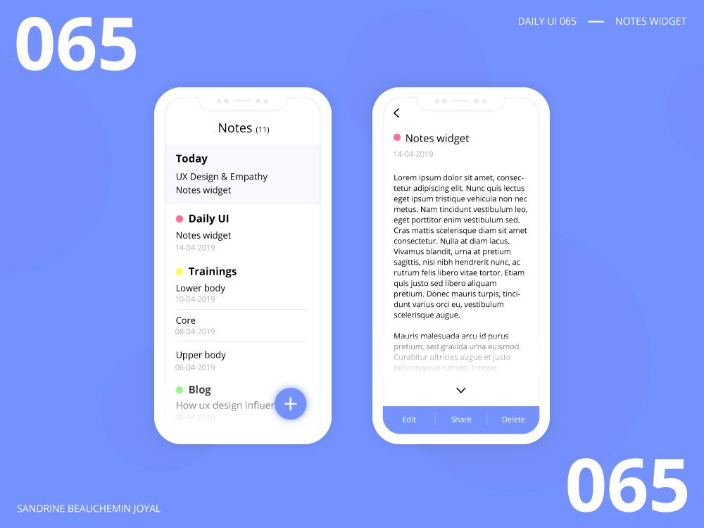 Daily UI 065 - Notes Widget notes widget notes app vector design ui daily ui dailyui daily ui 065