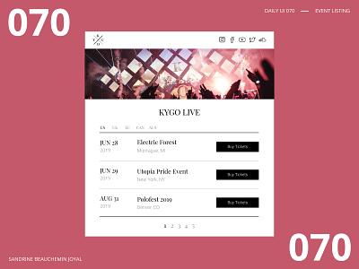 Daily UI 070 - Event Listing daily ui 070 vector design event listing kygo ui dailyui daily ui