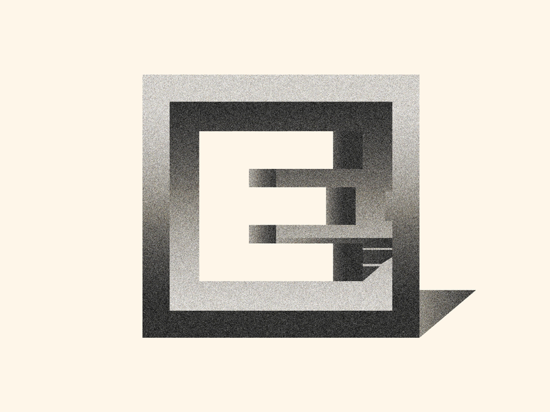 E - 36 Days of type - 5/36 design graphicdesign 2d logodesign illustration illustrator flat colors logo color textures texture e gradients 36dayoftype 36daysoftype07 black  white black gradient
