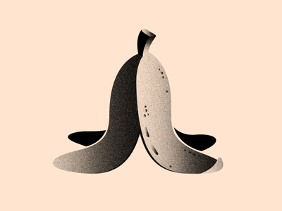 Vectober 12 - Slippery texture illustrator inktober2020 blackandwhite 2d vector flat illustration color white brush black light textures banana peel banana vectober fruit inktober