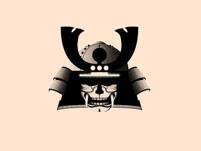 Vectober 14 - Armor mask helmet oni kabuto vectober inktober light black white colors illustration flat vector illustrator texture samurai