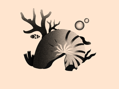 Vectober 20 - Coral corals coral reef texture vectober black white color colors illustration design flat 2d illustrator inktober greyscale sea water fish coral grey
