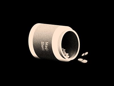 Vectober 21 - Sleep grain lights night sleeping pills pills sleep vectober inktober light texture black white color colors illustration flat vector 2d illustrator