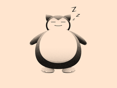 Vectober 21.5 - Sleep #2 snorlax pokemon night vectober inktober light texture black white color colors illustration flat vector 2d illustrator