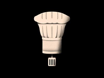 Vectober 22 - Chef pie chef hat vectober inktober cuisine food chef spatula textures light texture black white color colors illustration flat vector 2d illustrator