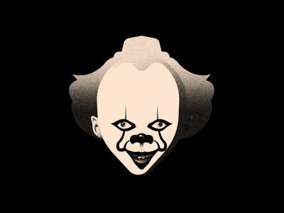 Vectober 28 - Float spooky scary vectober inktober texture textures black white color colors illustration flat vector 2d illustrator clown pennywise it