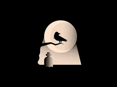 Vectober 30 - Ominous tombstone grave inktober2020 textures halloween crow spooky vectober inktober logo texture black white colors illustration flat vector 2d illustrator ominous