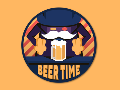 Beer Time Coaster character 2d design graphic design illustrator vector flat colors illustration white color blue coaster feedbackplease