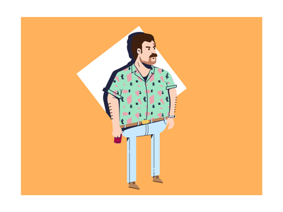 Hopper - Hawaiian Shirt #1 colors vector netflix stranger things feedbackplease flat illustration illustrator graphic design design 2d hopper