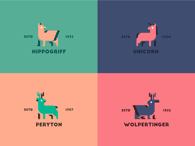 Mythical Creatures Series unicorn hippogriff feedbackplease mythical logo color colors illustration flat vector illustrator graphic design design 2d