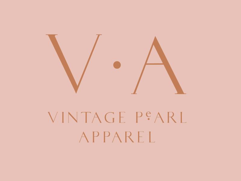 Vintage Pearl Apparel brand asset logo custom type graphic design surbmark typography design branding