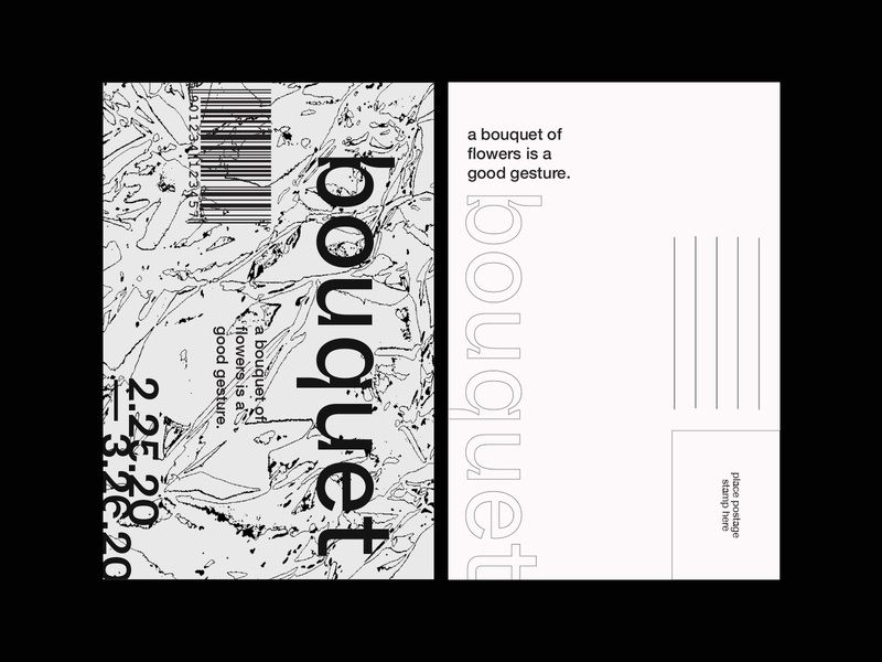 bouquet postcard 02 inktrap postcard typography whyte inktrap helvetica neue founders grotesk graphic design