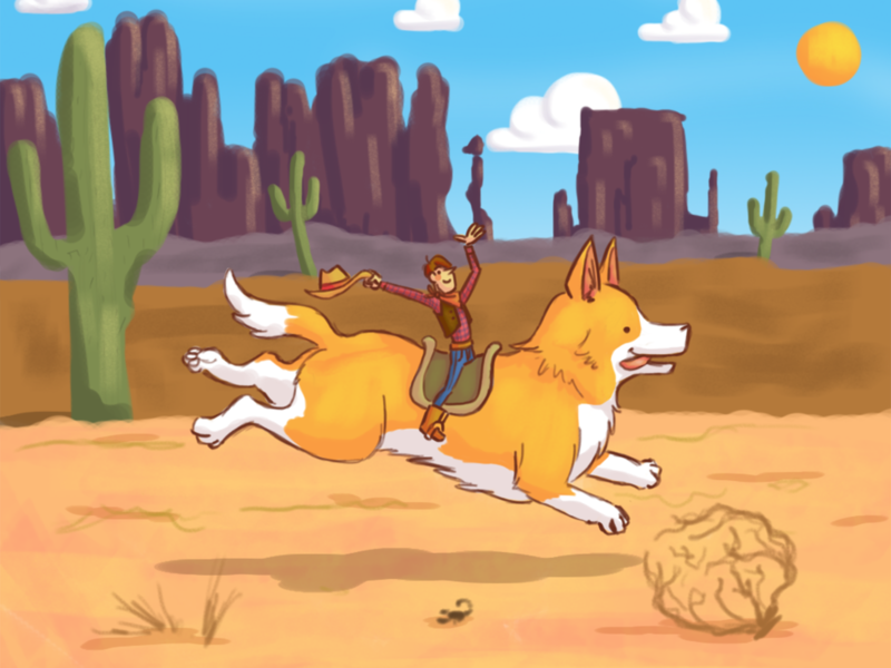 Run cactus desert cowboy corgi dog