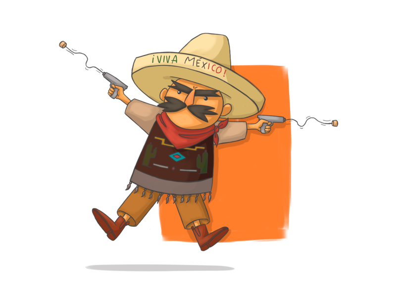 Viva Mexico color illustration mexico independence day september