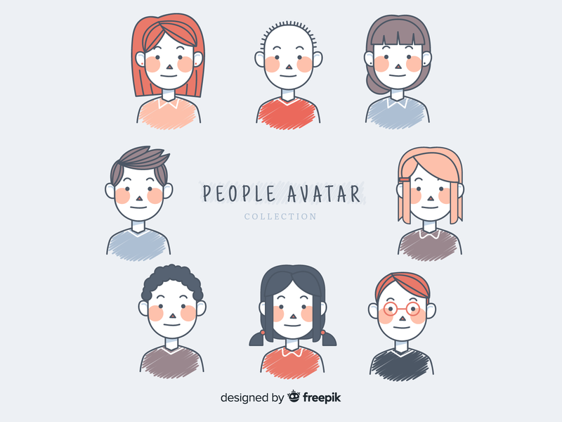 People avatar collection pack portrait identity group head womens profile person human women avatar network face hand drawn cartoon character man woman people illustration