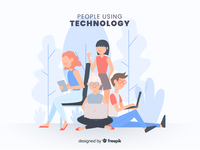 People Using Technology